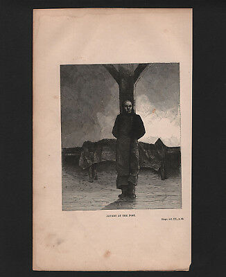 """OPC 1900 Victor Hugo Les Miserable Engraving Javert at the Post 10x6"""""""