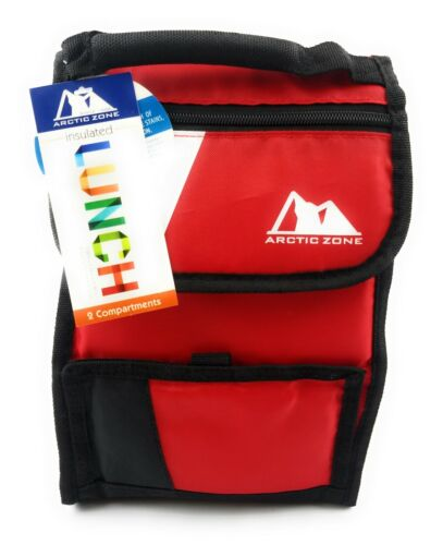 Arctic Zone Insulated Lunch Bag 2 Compartments Flap and Zipper- Red