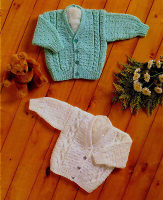"Knitting Pattern- Baby Cardigan Pattern- Aran wool- 2 styles- fits 16-24"" for sale  Salford"