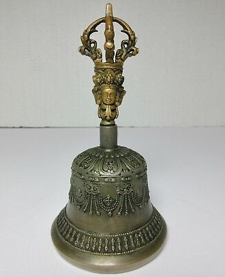 18TH CENTURY COPPER & BRONZE TIBETAN BELL SIGNED Antique
