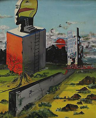 Signiert Claude De Pruw ? - Surreal Fantasy mit Mauer Gebäude und Kopf