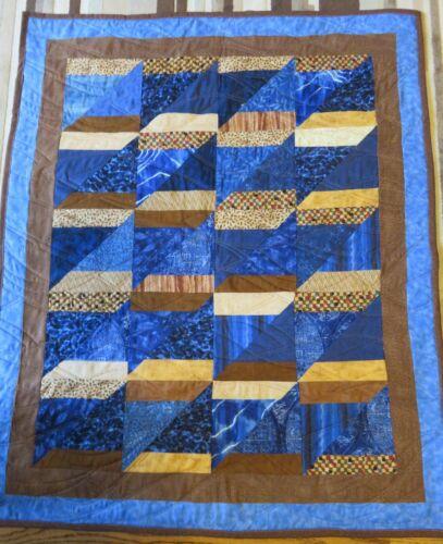 "New USA Hand Made Crib Quilt -Blue Brown Patchwork  35"" x 40"""