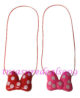 2 pc Minnie Mouse LED Light Up Pink Red Bow Necklace Flashing Blinking Halloween](Blinking Necklace)