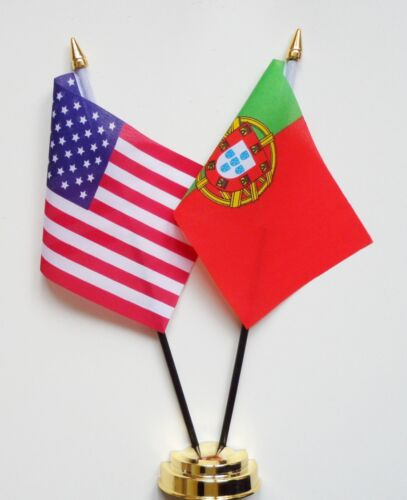United States of America & Portugal Double Friendship Table Flag Set
