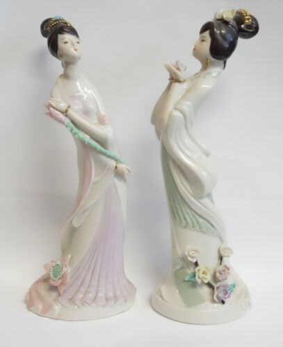 VINTAGE ASIAN GEISHA GIRL FIGURINES SET LOT OF 2 DELICATE RAISED FEATURES DETAIL
