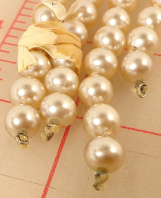 2 strands vintage beautiful 8mm glass knotted pearl beads Japan Ivory 12""