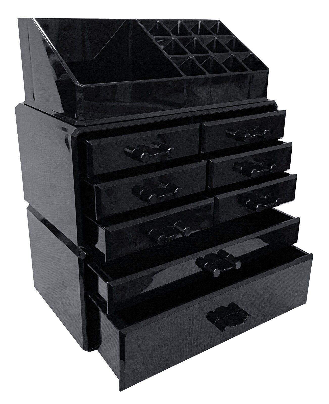 Black Acrylic Makeup Organizer Drawers Box Cosmetic Display