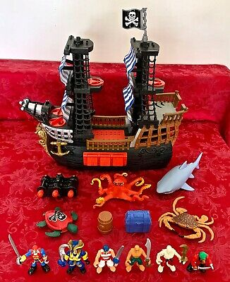 Fisher Price Imaginext Pirate Ship Blue Sails with 6 Pirates, 4 Sea Creatures +