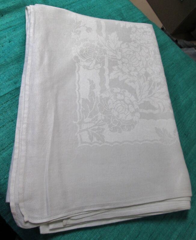 Antique Large Linen Damask Tablecloth Large Florals & Ribbons Hand Hemmed