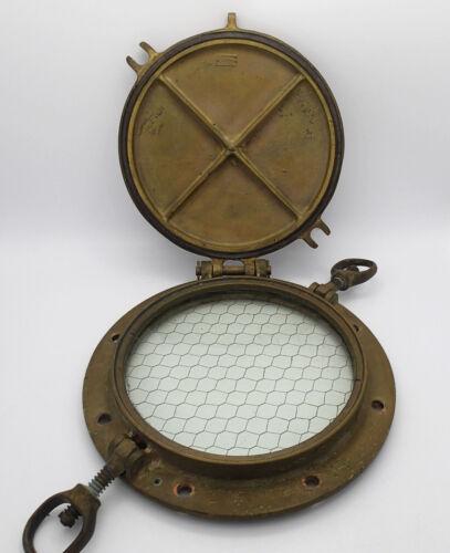 Antique Rostand Bronze Brass Nautical Boat Porthole Maritime Marine w Wire Glass