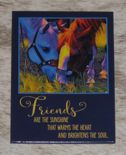 LEANIN TREE Horses Together Refrigerator Magnet #31549~Friends Warm Heart & Soul