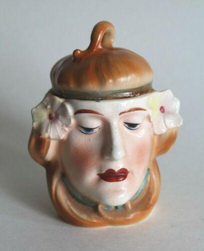 Antique Bisque Majolica Austrian Art Nouveau Mucha Lady Head Lidded Tobacco JAR