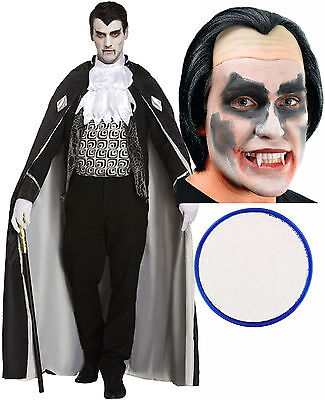 Man Of House Mens Vampire Dracula Halloween Fancy Dress Costume Wig Face Paint](Dracula Halloween Face)