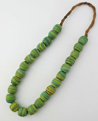 Glass trade bead necklace. North Indian / Nepal large barrel beads.