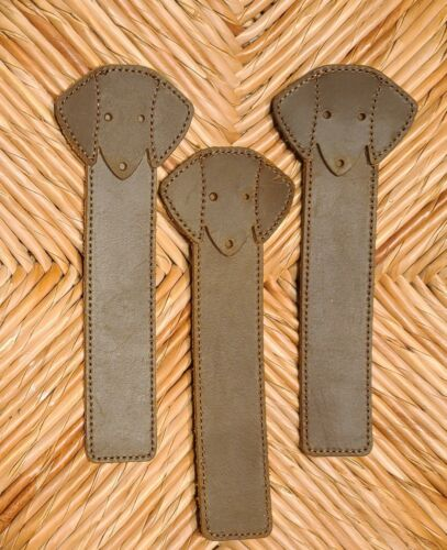 3 Adorable Dachshund Leather Bookmark; Bourbon Brown; planner cookbook dog Doxie