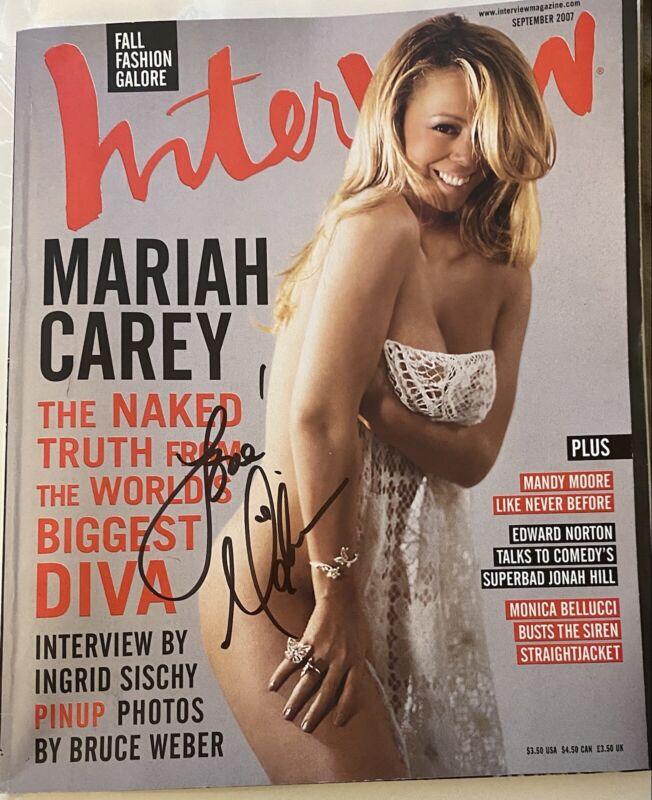 Mariah Carey Signed Autographed INTERVIEW MAGAZINE Sexy