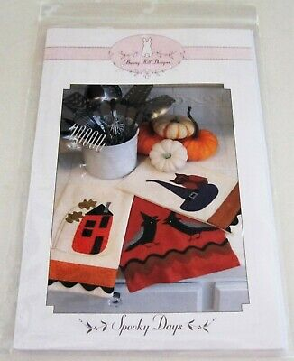 SPOOKY DAYS Halloween Applique Pattern for TEA TOWELS Owl CROWS Witch Hat HOUSE