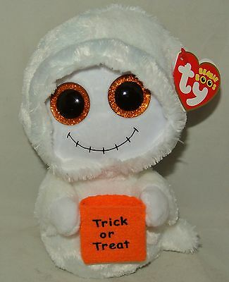 New! Ty Beanie Boos Halloween MIST Ghost with Trick or Treat Bag 6