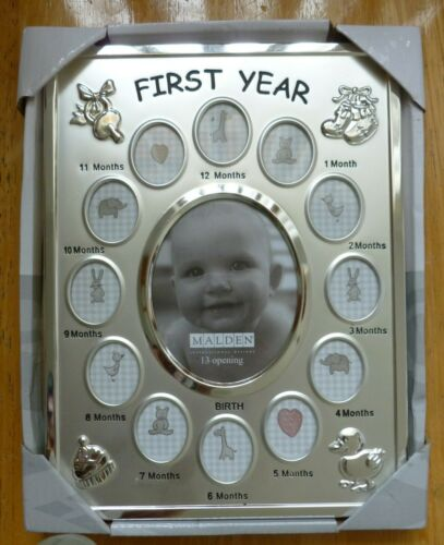 Baby Silver Metal Picture Frame FIRST YEAR 13 Opening Malden International