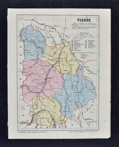 1864 Le Bealle Map - Dept Vienne - Poitiers Chatellerault Loudun Tour de France