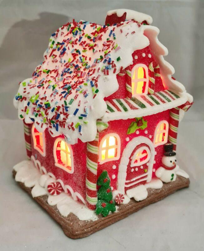 """Gingerbread House Candy Stripe Snowman Red LED Light Up Claydough 7"""" Kurt Adler"""