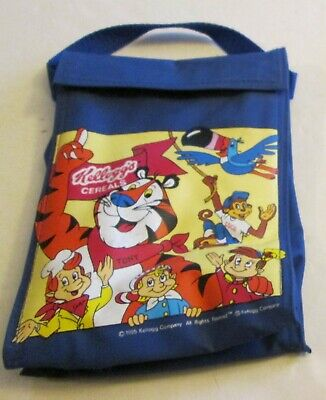 """Vintage 1995 Kelloggs Cereal Mascots Promo Insulated Lunch Bag 9x6"""" Tony Tiger"""