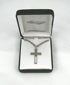 Rhodium-Plated-Mens-Silver-Cross-Fashion-Necklace-w-24-Chain-in-Gift-Box-MC268