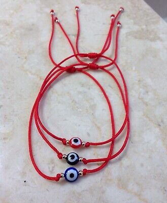 3 Red String Kabbalah Bracelet Evil Eye Goldilled Bead Good Luck Protection (String Bracelet)