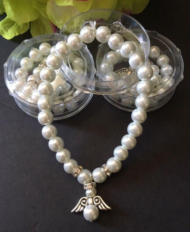 12-Baptism Party Favors Bracelets Angel Party Communion Recuerdos Bautizo Rosary