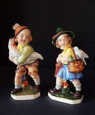 Vintage Friedel Bavaria Girls w/Hen and Pigeon Figurines-Made in Western Germany
