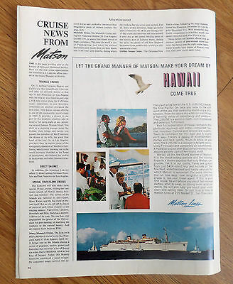 1965 Matson Cruise Line Ad Make Dream Of Hawaii