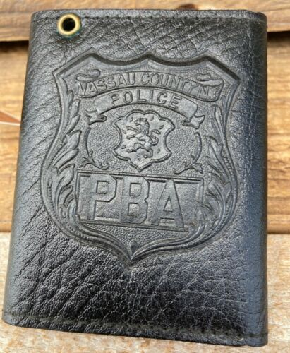 Black Textured Leather Police Badge And ID Holder Wallet Nassau County PBA