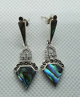 NICE PAIR OF SOLID STERLING SILVER MARCASITE MOTHER OF PEARL DROP EARRINGS