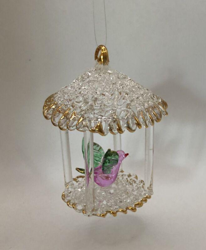 "VTG SPUN GLASS Pink Bird Gazebo Birdhouse Figurine CHRISTMAS Ornament 3"" Estate"
