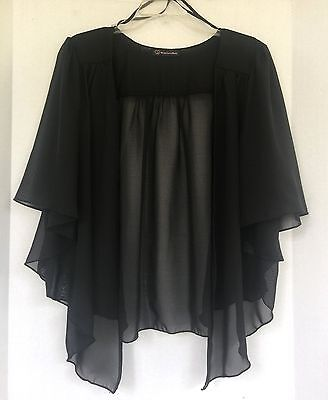 Womens BLACK Plus Size 2X Chiffon Cardigan Bolero Shrug Top