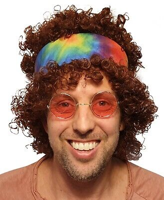 Brown Afro Hippy Men Wig-Synthetic Men's 60s 70s Chick Costume Halloween Party  - 70s Halloween Party