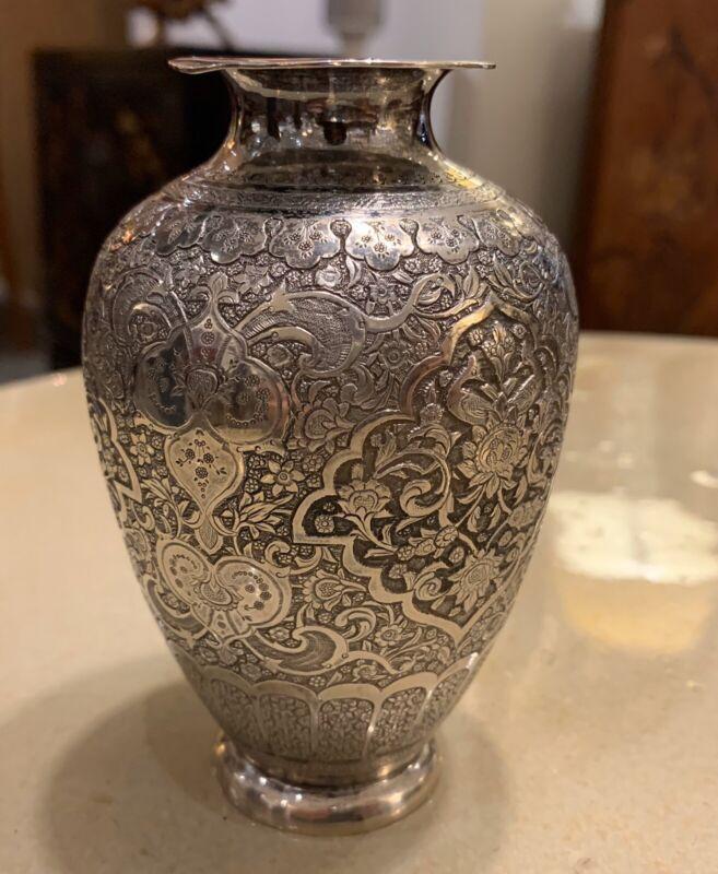 INCREDIBLE ANTIQUE HALLMARKED PERSIAN SILVER CABINET VASE!
