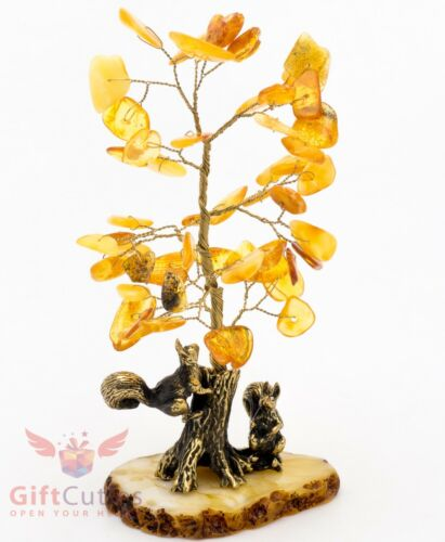 Brass Squirrels under tree with amber leaves  IronWork