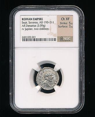 NGC CH.XF Roman Empire Sept. Severus AD 193-211 AR Denarius Rev Jupiter Children (Roman Kid)