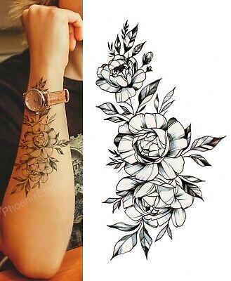 Temporary Tattoo Black Sketch Rose Flower Fake Body Art Sticker Waterproof