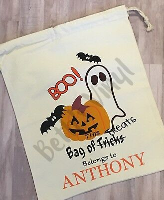 Personalized Canvas Drawstring Trick-or-Treat Bag Halloween Ghost Pumpkin