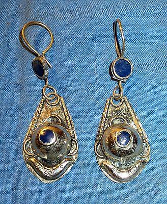 "Earrings Teardrop Lapis Afghan Kuchi Tribal Alpaca Silver 1 1/4"""