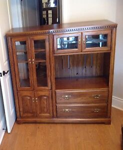 Solid Oak Entertainment Centre, $100