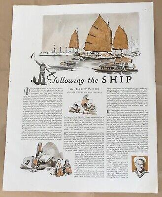 Following Ship pictorial 1927 vintage print 20s art illustration Adolf Treidler