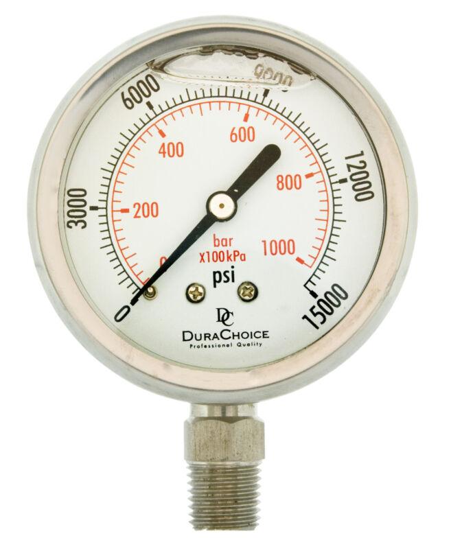 "2-1/2"" All Stainless Steel Pressure Gauge - 1/4"" NPT Lower Mnt. 15000PSI"