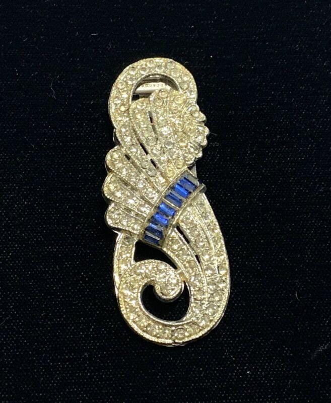 Vintage Art Deco Cornucopia Clear & Sapphire Blue Rhinestone Dress Or Fur Clip