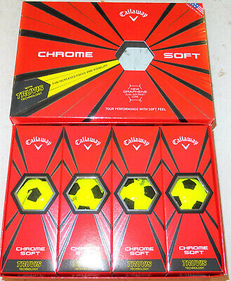 CALLAWAY TRUVIS LTD EDITION CHROME SOFT YELLOW GRAPHENE GOLF BALLS 1X12 NEW