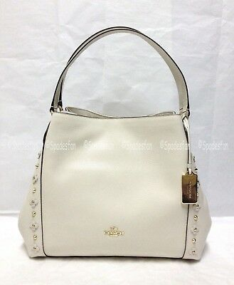 Coach 37700 Edie 31 Floral Rivets Leather Shoulder Bag CHALK White Ivory NWT  Ivory White Leather