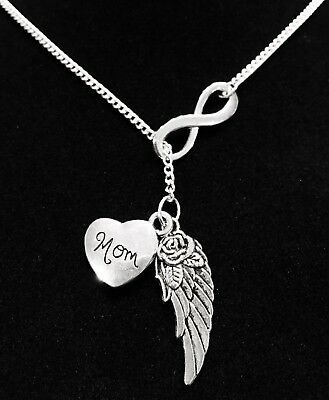 Memorial Necklace Mom Guardian Angel Wing Heaven Sympathy Gift Y Lariat Jewelry