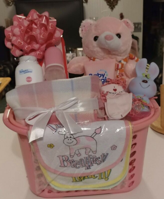 """""""Pretty in Pink"""" Adorable Newborn Infant Baby Girl ShowerGift Basket: Brand New"""